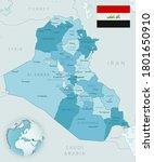 blue green detailed map of iraq ... | Shutterstock .eps vector #1801650910