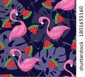 colorful flamingo pattern in...   Shutterstock .eps vector #1801653160