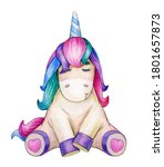cute  sitting unicorn  isolated ... | Shutterstock . vector #1801657873