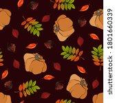 autumn background with pumpkin...   Shutterstock .eps vector #1801660339