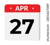 27 april calendar icon  vector... | Shutterstock .eps vector #1801667089
