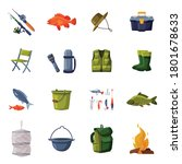 Fishing Equipment Set, Fishing Rod, Backpack, Vest, Thermos, Flashlight, Bucket, Bonfire, Rubber Boots Cartoon Vector Illustration - stock vector