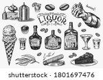 liquor set. bottle and shot and ... | Shutterstock .eps vector #1801697476
