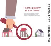 man's hand searching a house... | Shutterstock .eps vector #1801703683