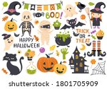 halloween element set  witch ... | Shutterstock .eps vector #1801705909