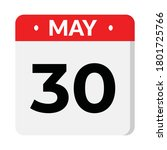 may 30 flat style calendar icon ... | Shutterstock .eps vector #1801725766
