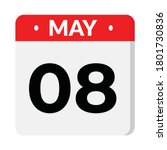 may 08 flat style calendar icon ... | Shutterstock .eps vector #1801730836