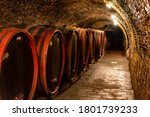Wooden Old Barrels In The...