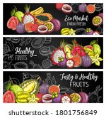 tropical fruits vector chalk... | Shutterstock .eps vector #1801756849