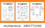 trick or treat worksheets... | Shutterstock .eps vector #1801771330