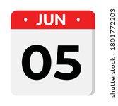 05 june calendar icon  vector... | Shutterstock .eps vector #1801772203