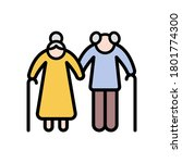 old couple icon. simple color...