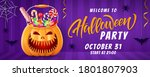 halloween lettering background  ... | Shutterstock .eps vector #1801807903