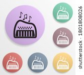 toy piano badge color set icon. ...