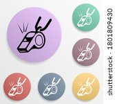 whistle badge color set icon....