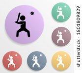 baseball player badge color set ...