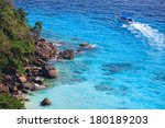 aerial view of a tourist speed... | Shutterstock . vector #180189203