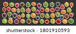 vector set of fresh fruits ... | Shutterstock .eps vector #1801910593