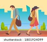 people walking in a city park.... | Shutterstock .eps vector #1801924099