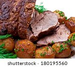closeup of roast  lamb with... | Shutterstock . vector #180195560