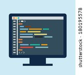 code editor on a monitor | Shutterstock . vector #180195578