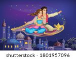 east princess and aladdin on... | Shutterstock .eps vector #1801957096