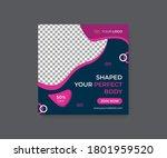 gym offer post web banner design | Shutterstock .eps vector #1801959520