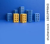 Miniature City With Blue Yellow ...