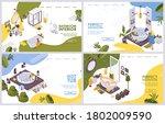 vector isometric set landing...   Shutterstock .eps vector #1802009590