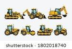 constraction tractors vehicles...   Shutterstock .eps vector #1802018740