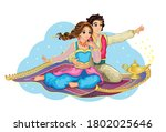 east princess and aladdin on... | Shutterstock . vector #1802025646