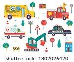 funny kids transport set with...   Shutterstock .eps vector #1802026420