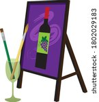 painting brushes in a wine... | Shutterstock .eps vector #1802029183
