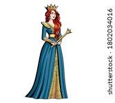 isolated queen character.... | Shutterstock .eps vector #1802034016