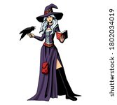 isolated witch with a raven.... | Shutterstock .eps vector #1802034019