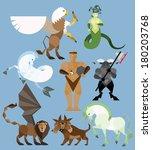 mythology set in flat style  ... | Shutterstock .eps vector #180203768