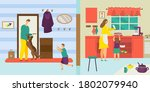 family at home lifestyle ... | Shutterstock .eps vector #1802079940