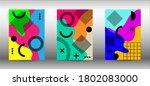modern memphis background set... | Shutterstock .eps vector #1802083000