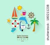summer flat vector icon set  ... | Shutterstock .eps vector #180211238