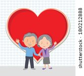Elderly couple Love. Cheerful senior couple gesturing with red heart.