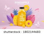 cold pressed pineapple juice ad ... | Shutterstock . vector #1802144683
