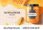 Flay Lay Of Honey Jar Over...