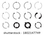 sets of black circle arrows.... | Shutterstock .eps vector #1802147749