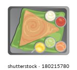 a vector illustration in eps 10 format of a metal tray with a traditional south indian dosa and accompanying chutneys on a banana leaf