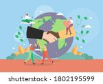 planet earth globe with...   Shutterstock .eps vector #1802195599
