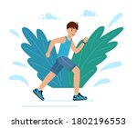 a young guy runs in the park... | Shutterstock .eps vector #1802196553