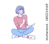 girl sit down for thinking...   Shutterstock .eps vector #1802214169