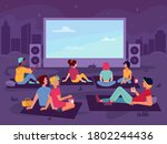 cinema open air movie in park ... | Shutterstock .eps vector #1802244436