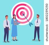 target with arrow in bullseye ... | Shutterstock .eps vector #1802259250