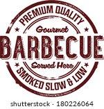 Premium BBQ Barbecue Menu Stamp - stock vector